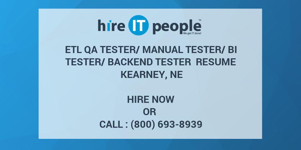 ETL QA Tester/Manual Tester/BI Tester/Backend Tester Resume