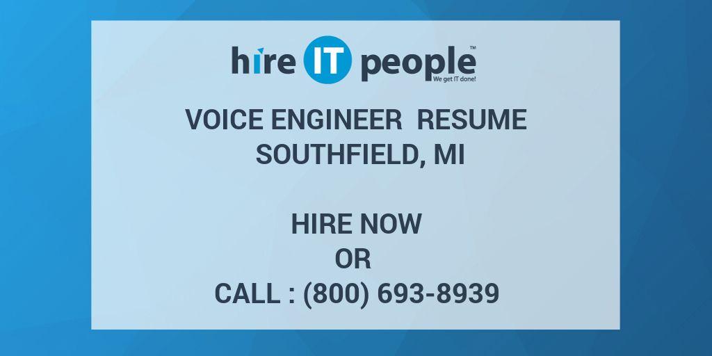 Voice Engineer Resume Southfield MI