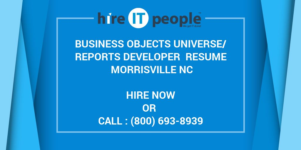 business objects universe  reports developer resume