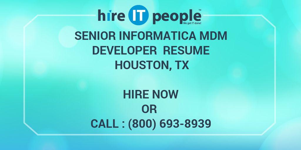 Senior Informatica MDM Developer Resume Houston TX