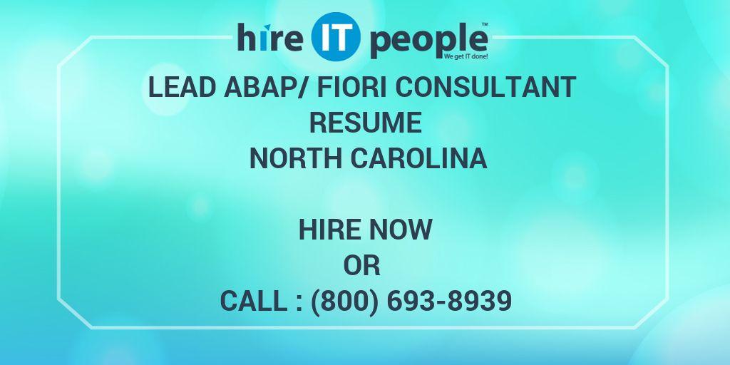 Lead Abap Fiori Consultant Resume North Carolina Hire It