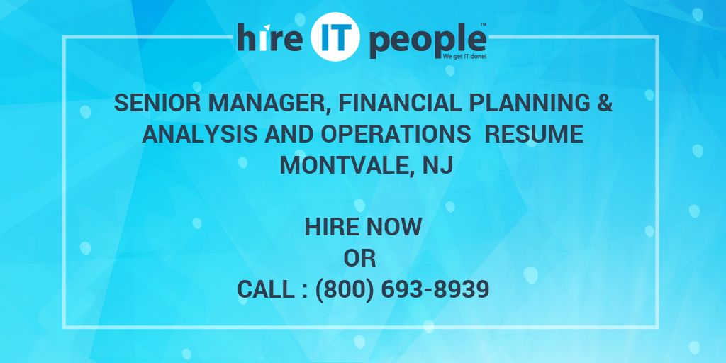 Senior Manager, Financial Planning & Analysis and Operations Resume ...