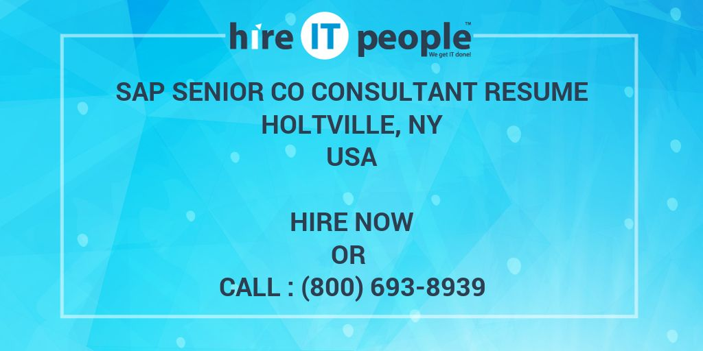 SAP Senior CO Consultant resume Holtville, NY - Hire IT People - We ...