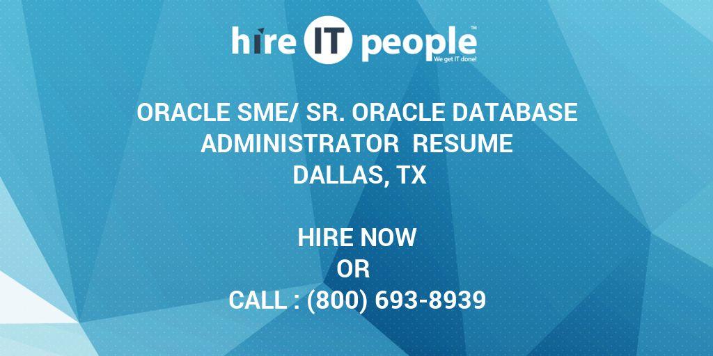 Oracle SME/Sr  Oracle Database Administrator Resume DALLAS