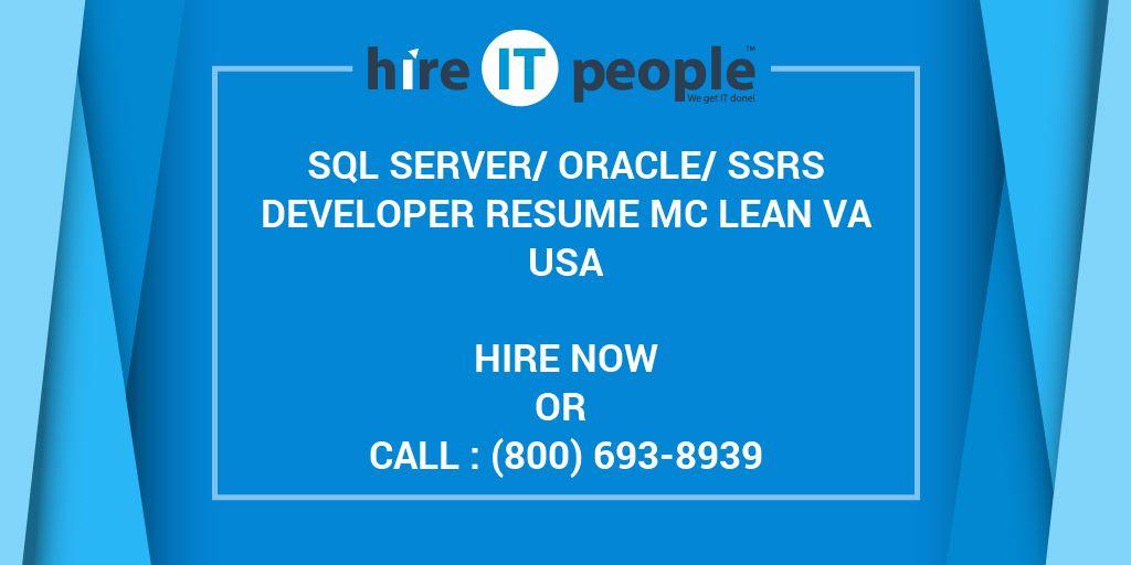 sql server oracle ssrs developer resume mc lean va hire it