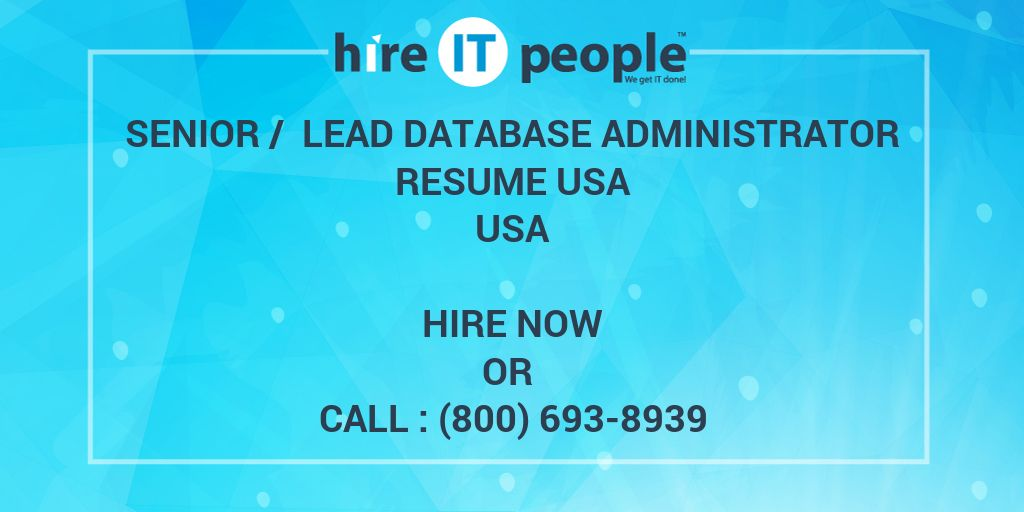 senior    lead database administrator resume usa