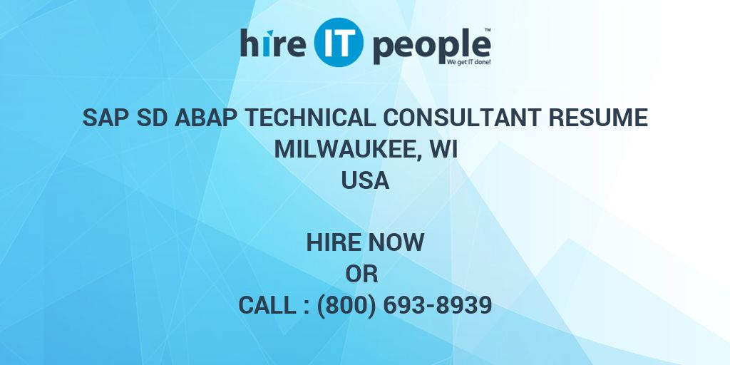sap sd abap technical consultant resume milwaukee  wi