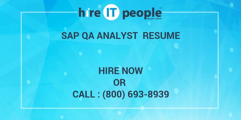 sap qa analyst resume - hire it people