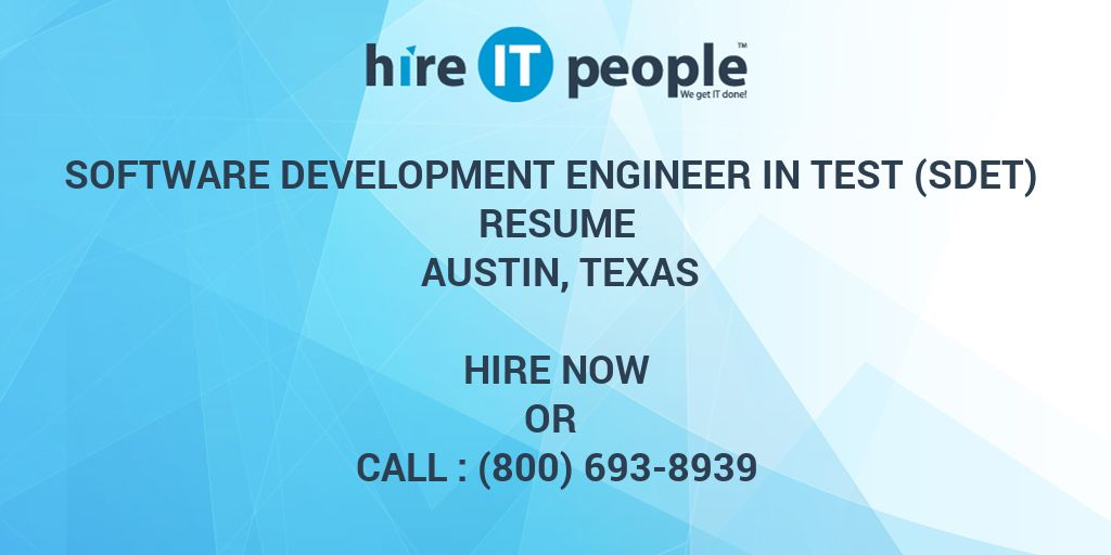 Software Development Engineer in Test (SDET) Resume Austin