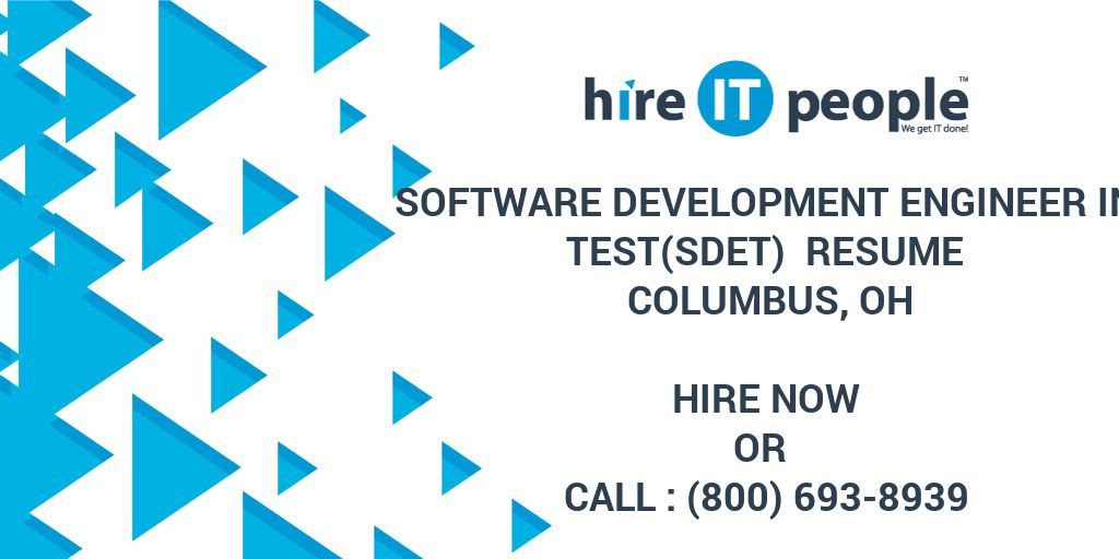 software development engineer in test sdet  resume columbus  oh - hire it people