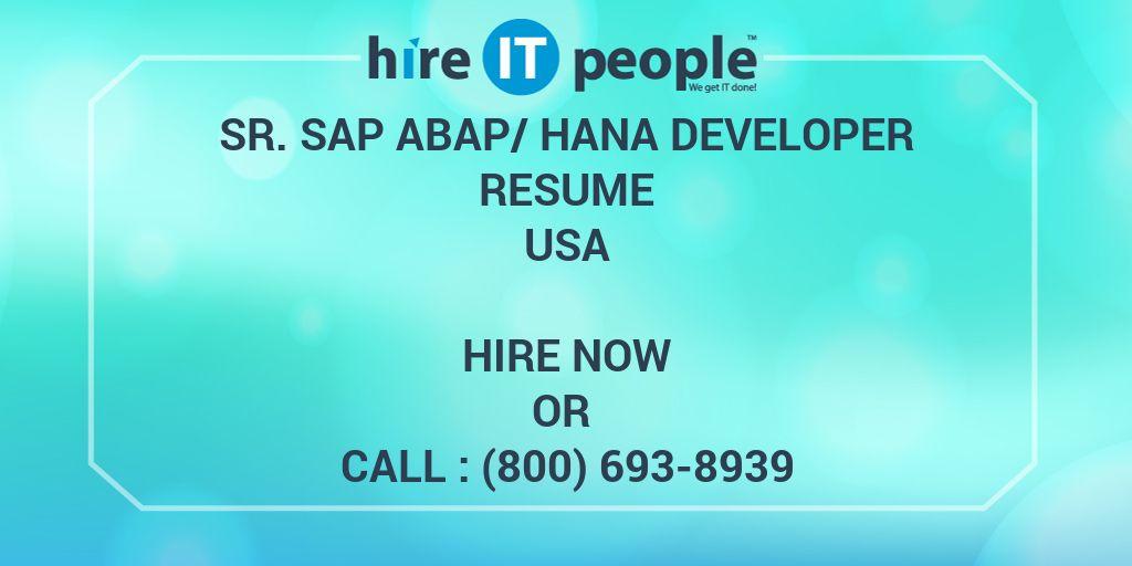 sr  sap abap  hana developer resume - hire it people