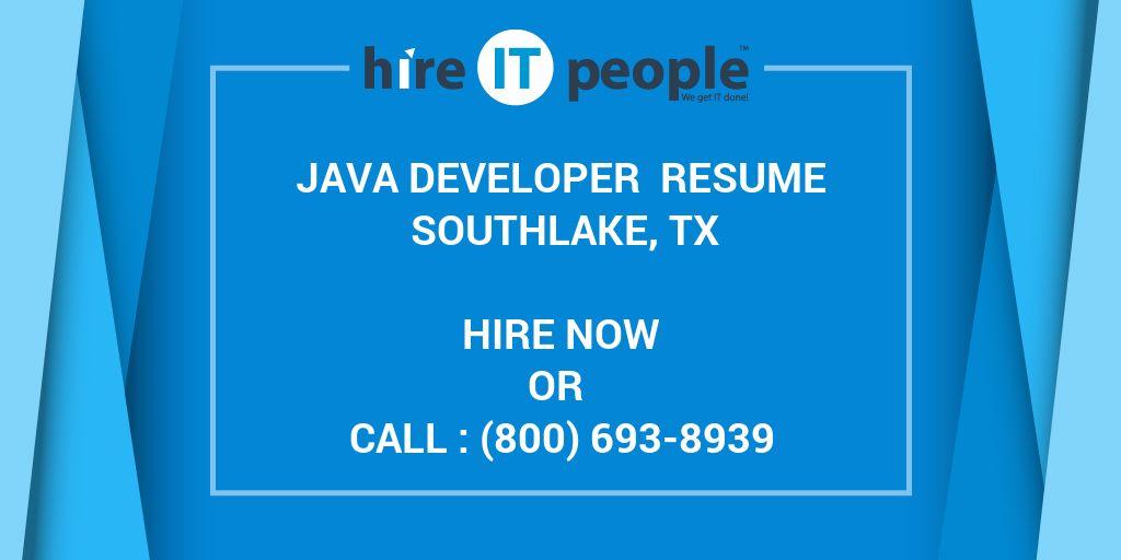 Java Developer Resume Southlake, TX - Hire IT People - We