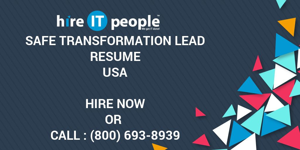 safe transformation lead resume - hire it people