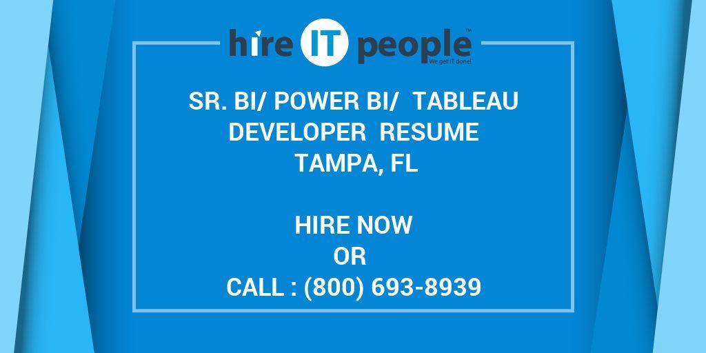 sr  bi  power bi   tableau developer resume tampa  fl