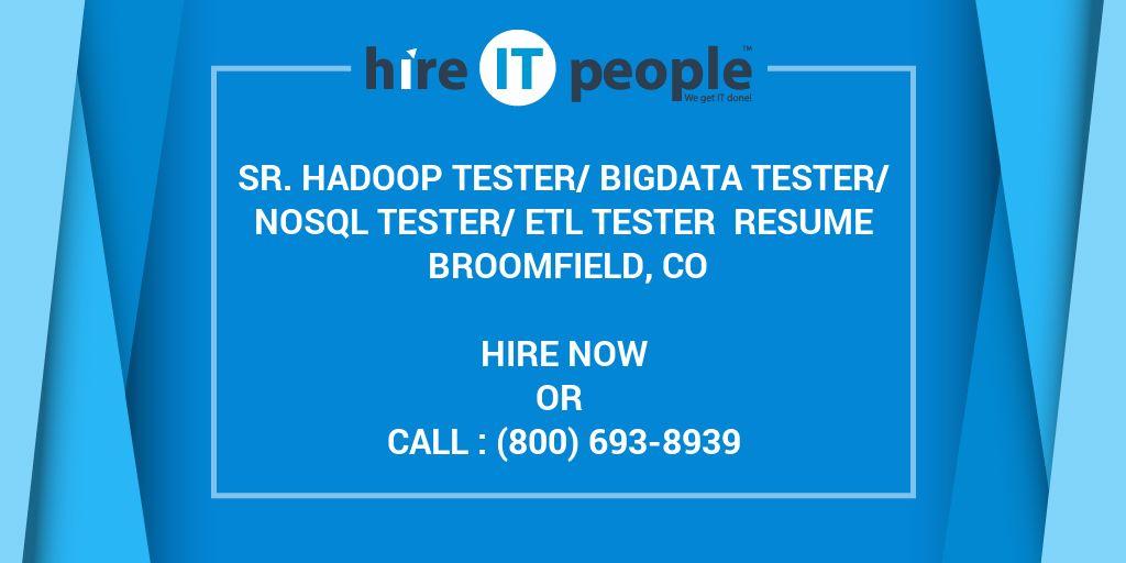 sr hadoop tester bigdata tester nosql tester etl tester resume