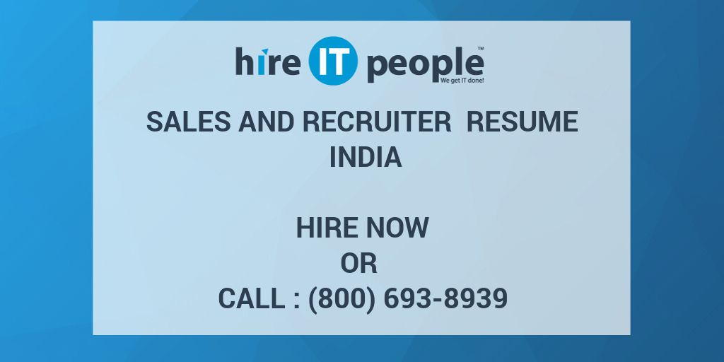 Sales And Recruiter Resume India Hire It People We Get
