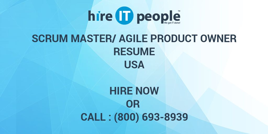 SCRUM Master AGILE Product Owner Resume