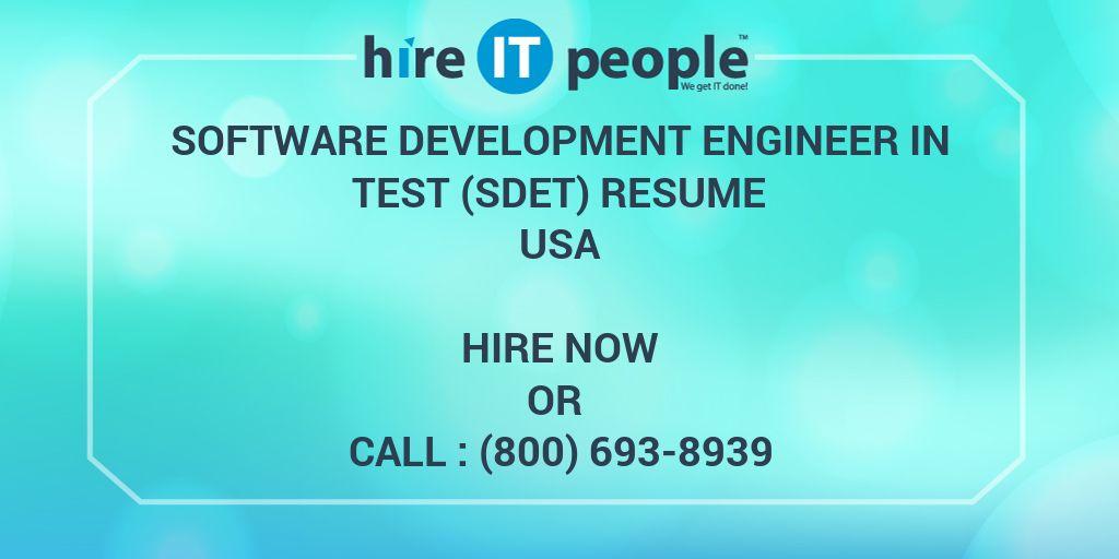 software development engineer in test  sdet  resume - hire it people